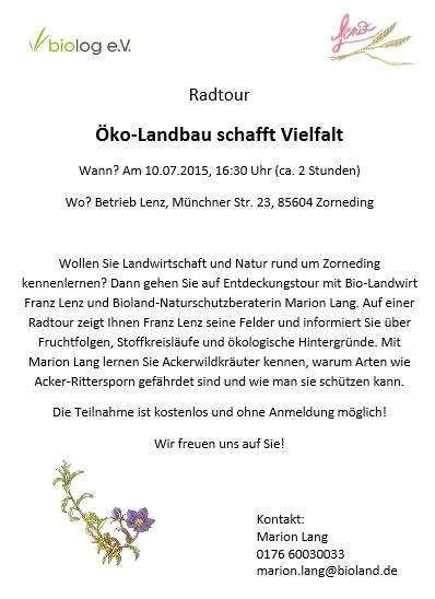 Flyer für Radtour